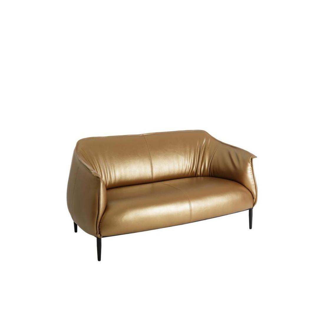 Canap 2 places simili cuir or golden univers du salon - Univers du cuir canape ...