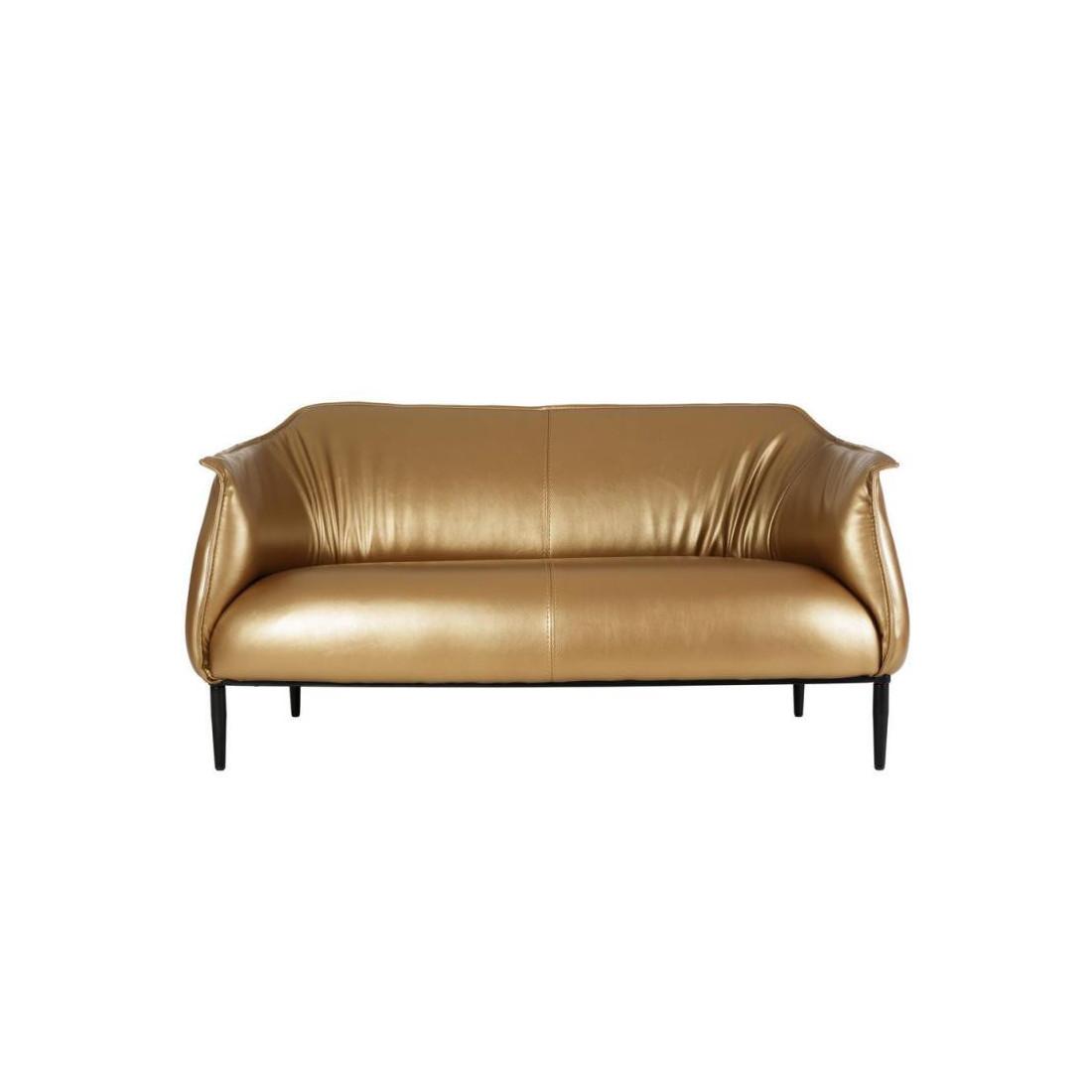 canap 2 places simili cuir or golden univers du salon. Black Bedroom Furniture Sets. Home Design Ideas