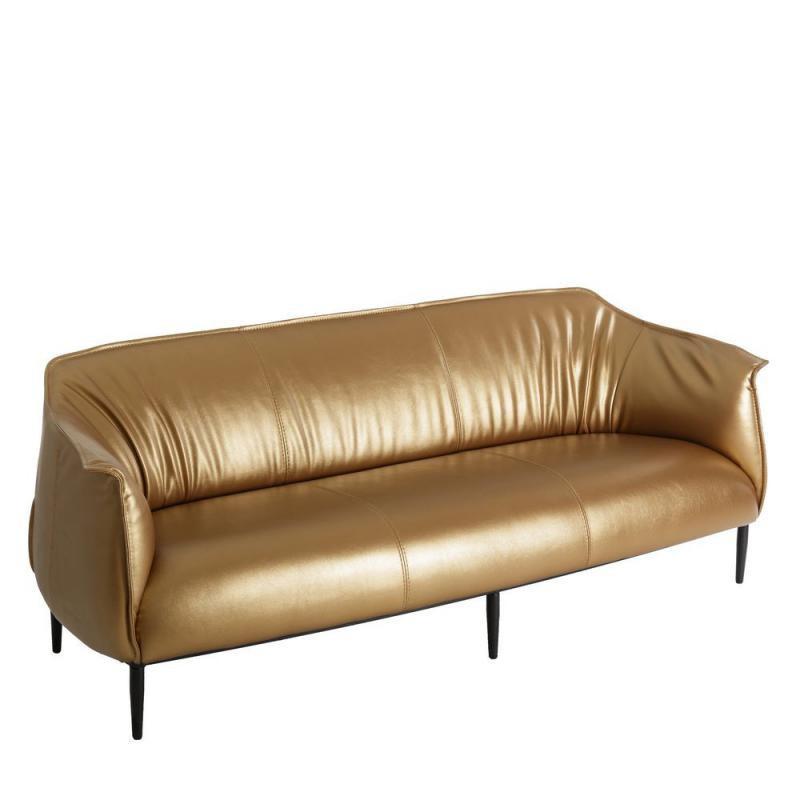 Canapé 3 places Simili cuir Or moderne design - Univers Assises et Salon : Tousmesmeubles