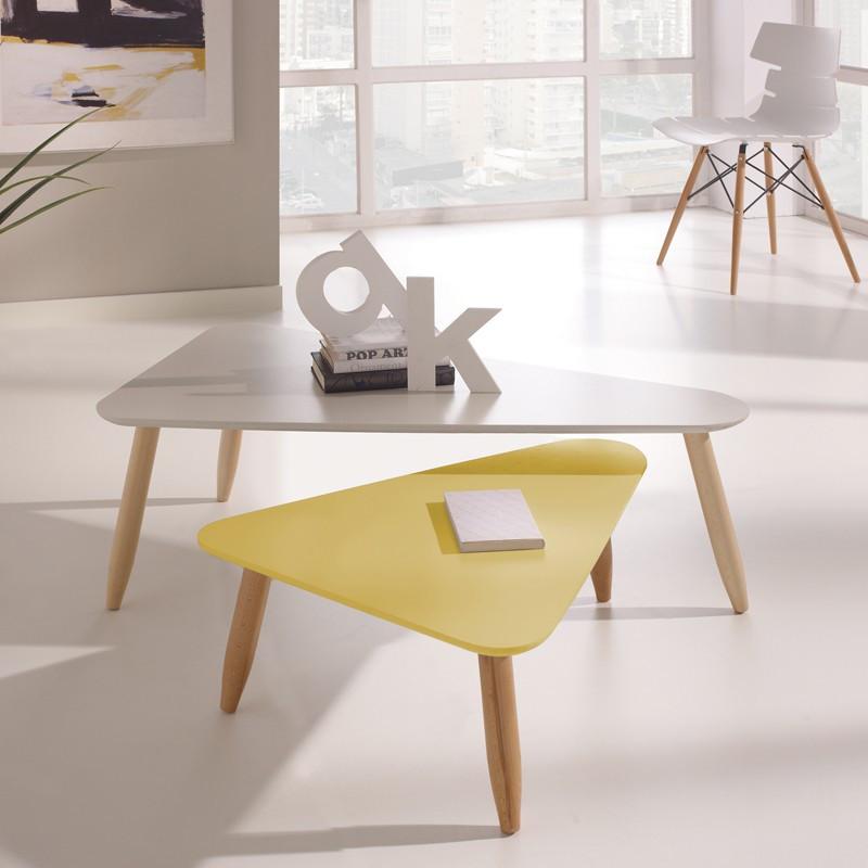 Tables gigognes triangle Blanc/Jaune - OVNI