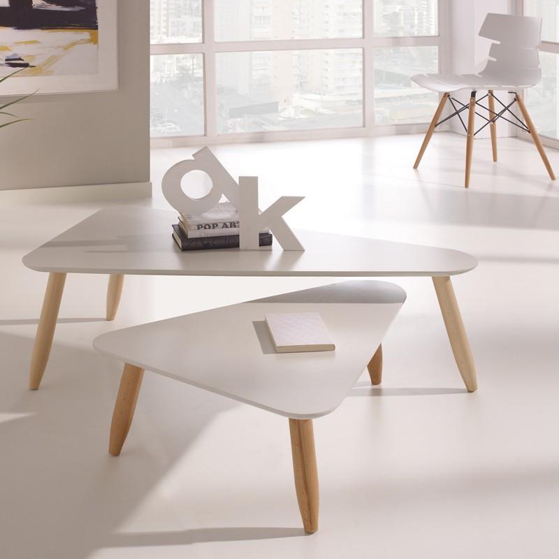 Tables gigognes triangle Blanc/Blanc anthracite - OVNI