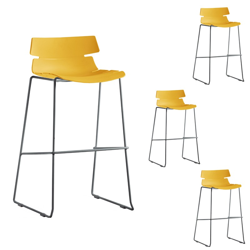 Quatuor de tabourets de bar moutarde siry univers salon - Tabouret de bar jaune ...