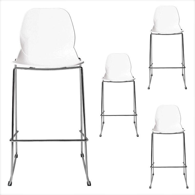 Quatuor de chaises de bar Blanc - GRETAY