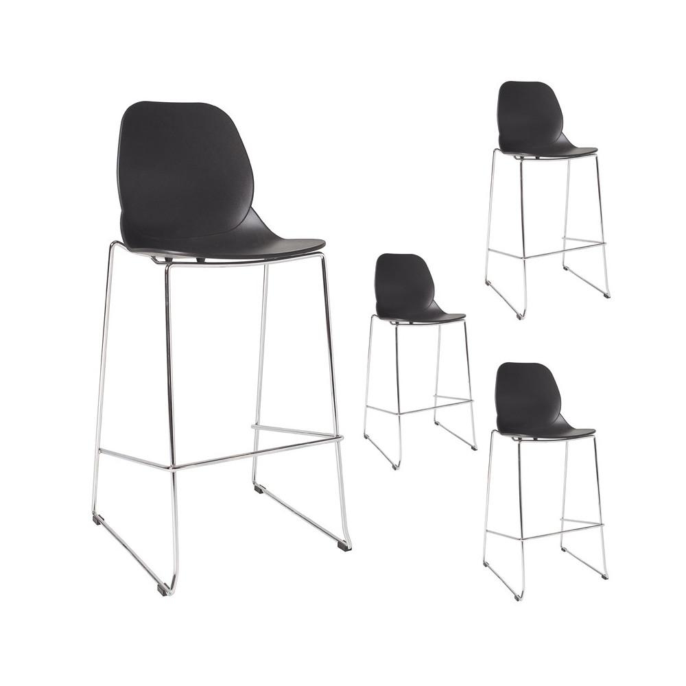 Quatuor de chaises de bar Noir - GRETAY