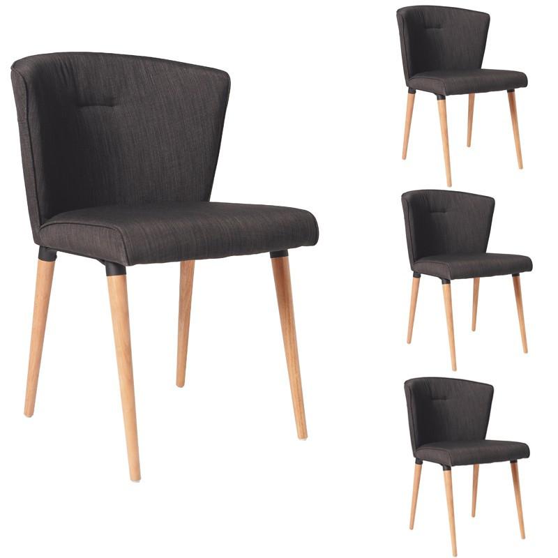 Quatuor de chaises tissus Gris - BIJOU