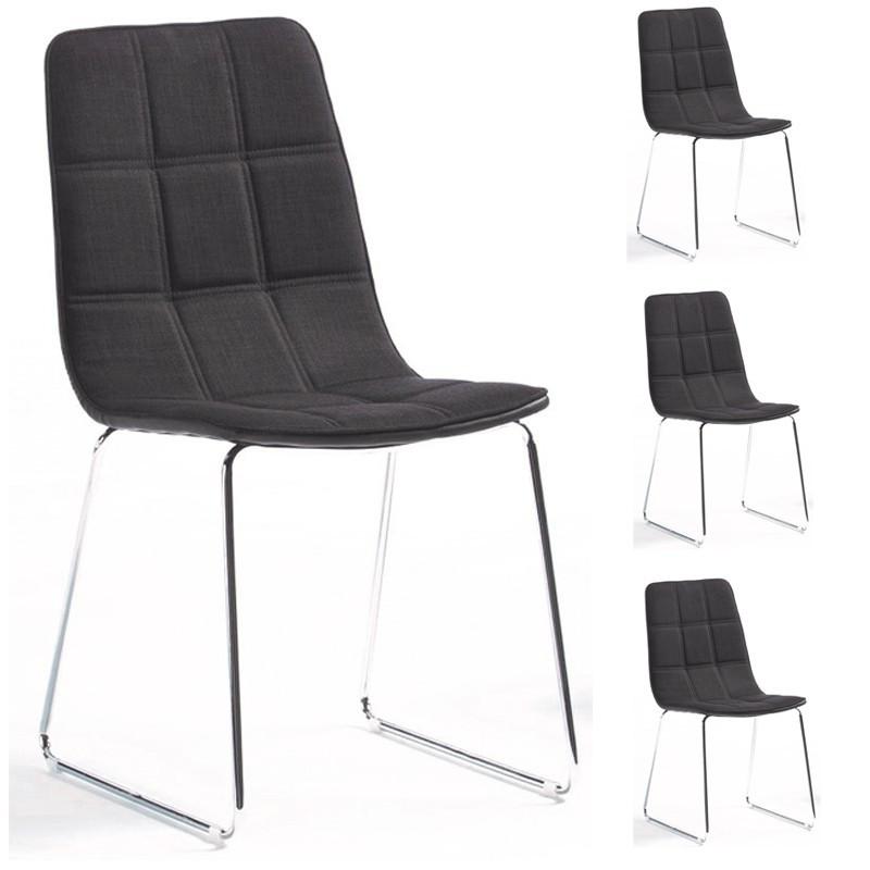 Quatuor de chaises Tissus/Simili cuir Noir - KAOH