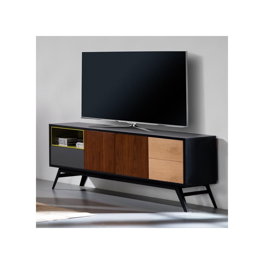 meuble tv 3 portes 1 tiroir scandinave alesia n 2 univers du salon. Black Bedroom Furniture Sets. Home Design Ideas