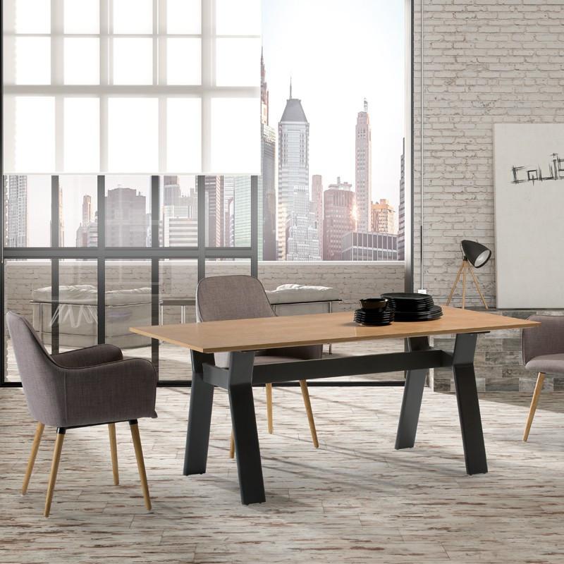 Table de repas bois chêne clair et gris mat moderne ALESIA - Univers Salle à Manger : Tousmesmeubles