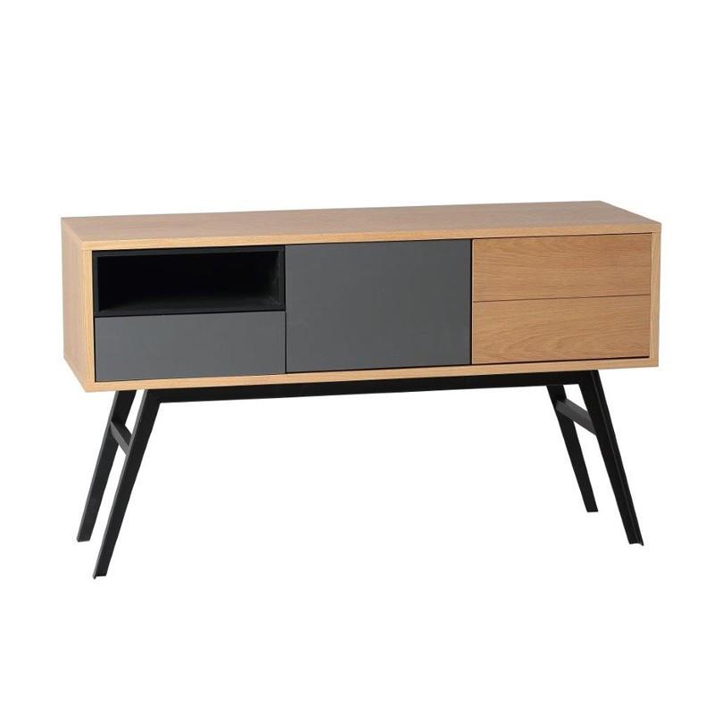 Console 2 portes 1 tiroir bois chêne clair gris mat contemporain ALESIA - Univers Petits Meubles : Tousmesmeubles