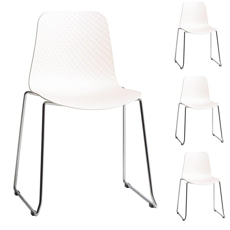 Quatuor de Chaises Blanc pieds métal coque plastique - Univers Assises et Salle à Manger : Tousmesmeubles