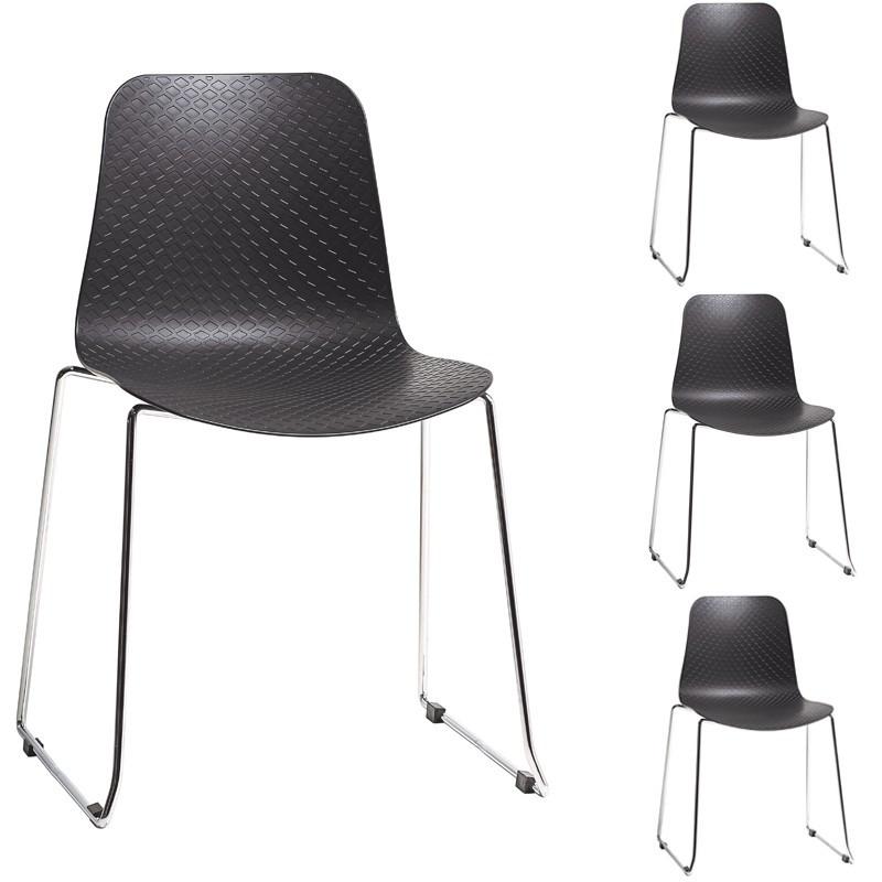 Quatuor de Chaises Noir métal plastique contemporain - Univers Assises et Salle à Manger : Tousmesmeubles