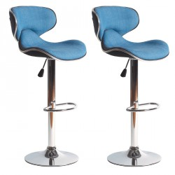 Duo de Tabourets de bar Jean piétement métal chromé - Univers Salon et Assises : Tousmesmeubles