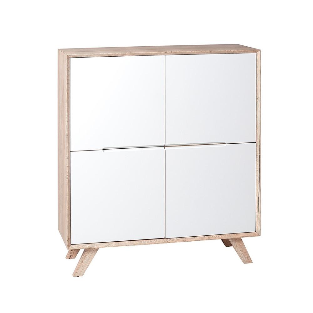 Vaisselier 4 portes bois clair et blanc mat scandinave - Univers Salle à Manger : Tousmesmeubles