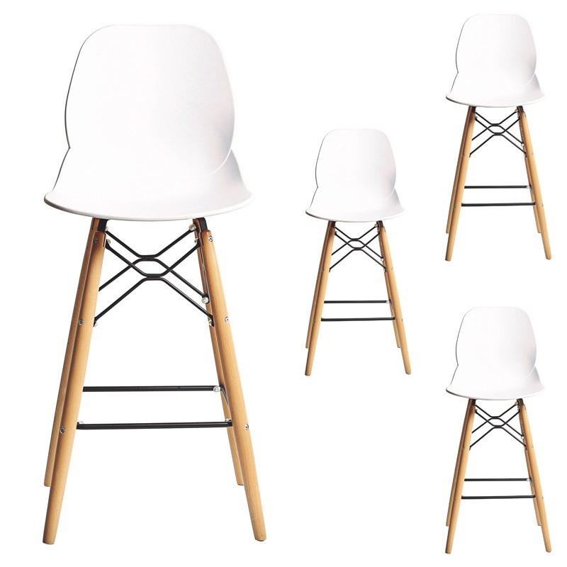 Quatuor de Chaises de bar Blanc moderne design BURI - Univers Salon et Assises : Tousmesmeubles