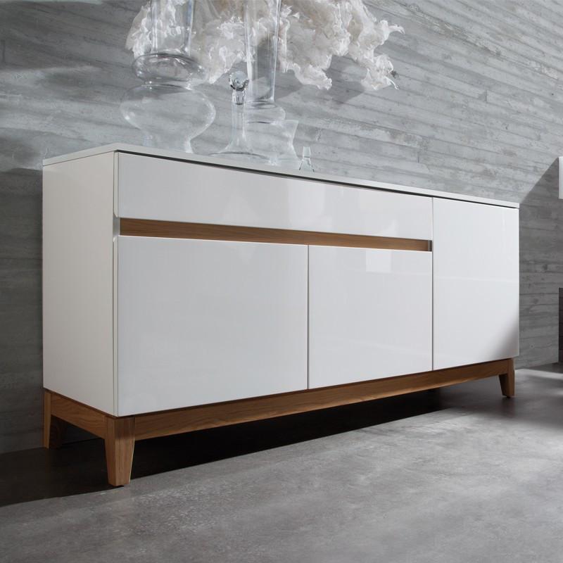 Buffet 3 portes 1 tiroir bois et laqué blanc brillant contemporain - Univers Salle à Manger : Tousmesmeubles