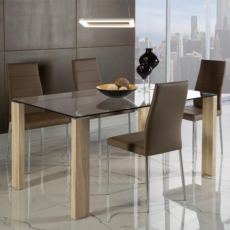Table de repas pieds bois clair plateau verre - Univers Salle à Manger : Tousmesmeubles