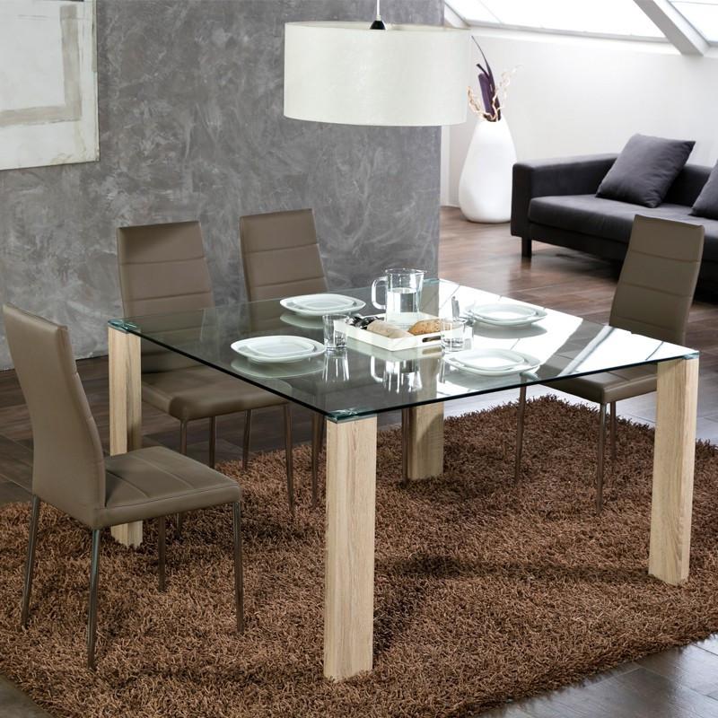 Table de repas Carrée pieds bois plateau verre - Univers Salle à Manger : Tousmesmeubles