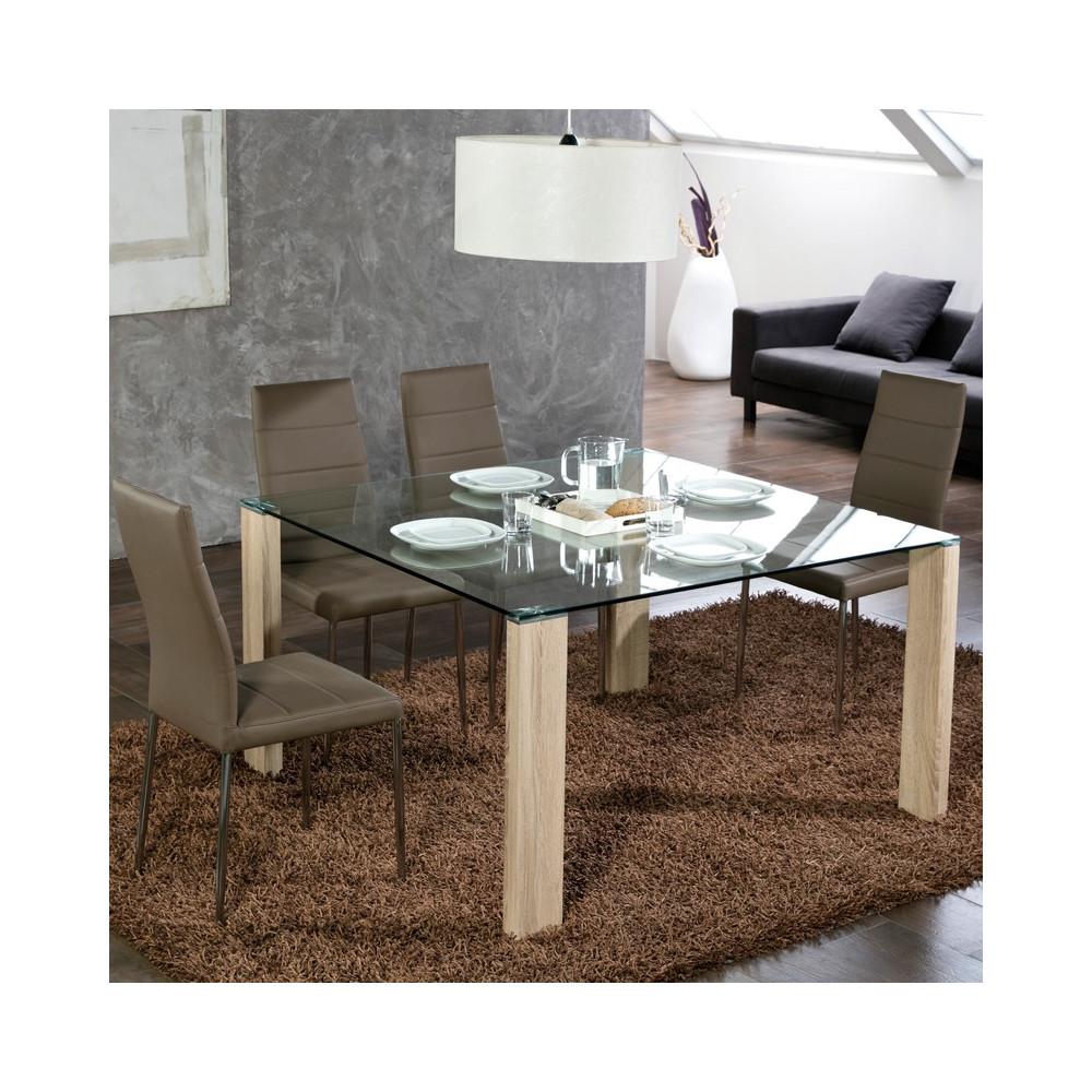 table de repas carr e pieds bois grissam univers salle manger. Black Bedroom Furniture Sets. Home Design Ideas