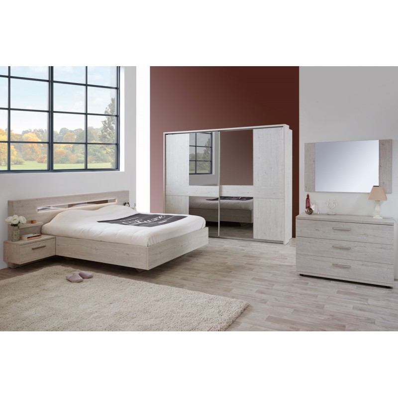 cadre t te de lit chevets 180 200 cm dulce univers. Black Bedroom Furniture Sets. Home Design Ideas