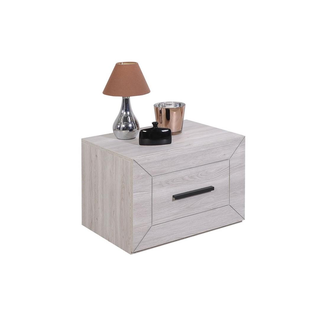 table de chevet 1 tiroir gris clair papeete univers chambre. Black Bedroom Furniture Sets. Home Design Ideas