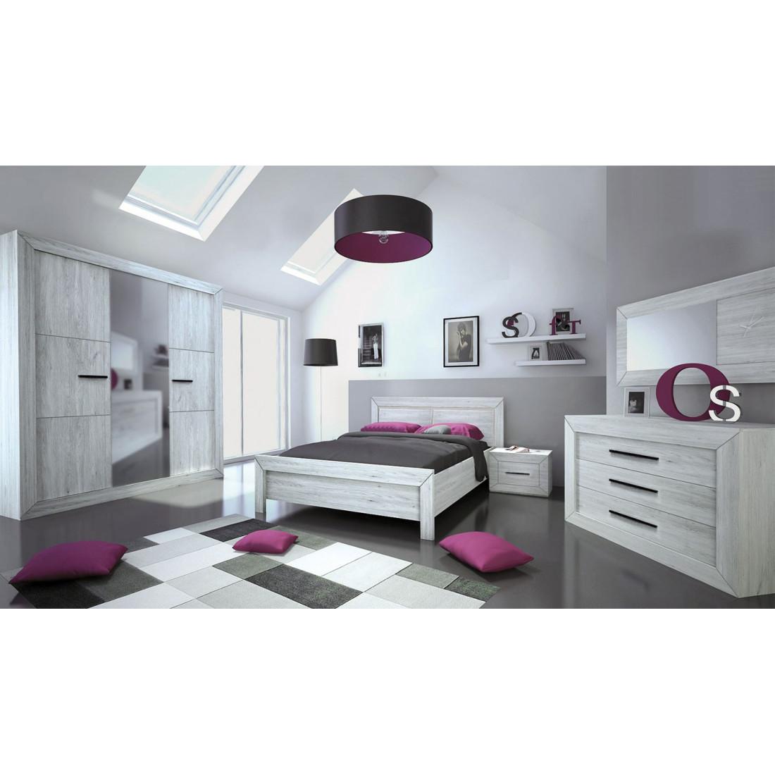 chambre adulte compl232te 160200 gris clair papeete