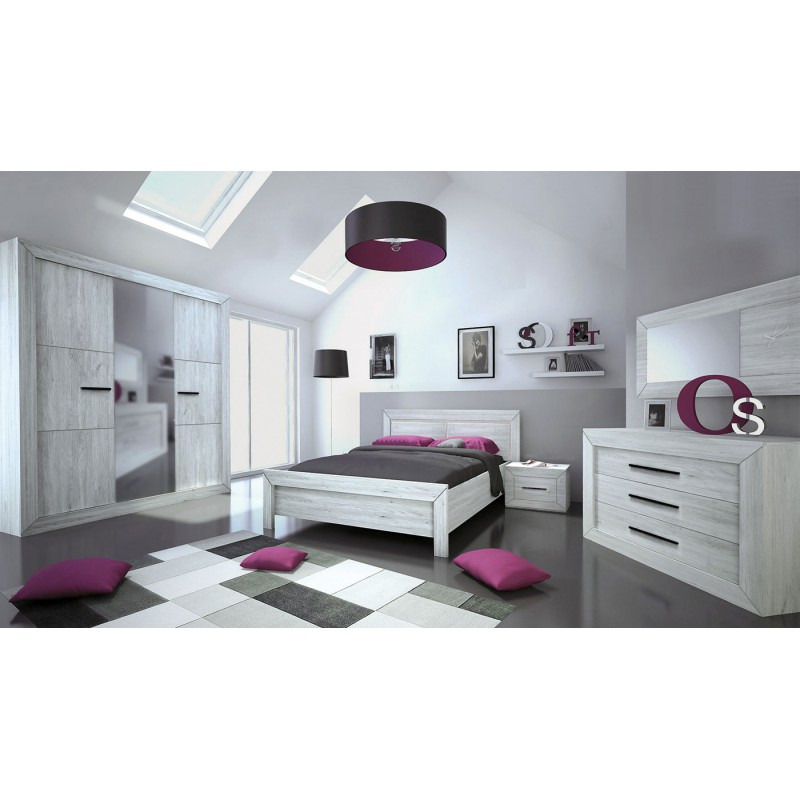 Chambre adulte compl te 180 200 gris clair papeete for Chambre adultes complete