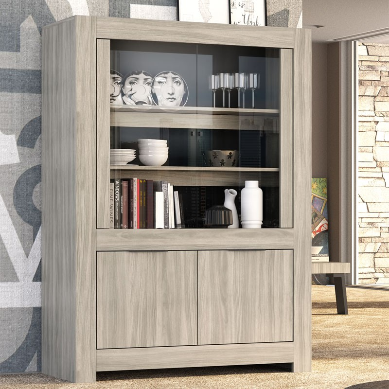 vitrine 2 portes bois 2 portes verre venise univers salle manger. Black Bedroom Furniture Sets. Home Design Ideas
