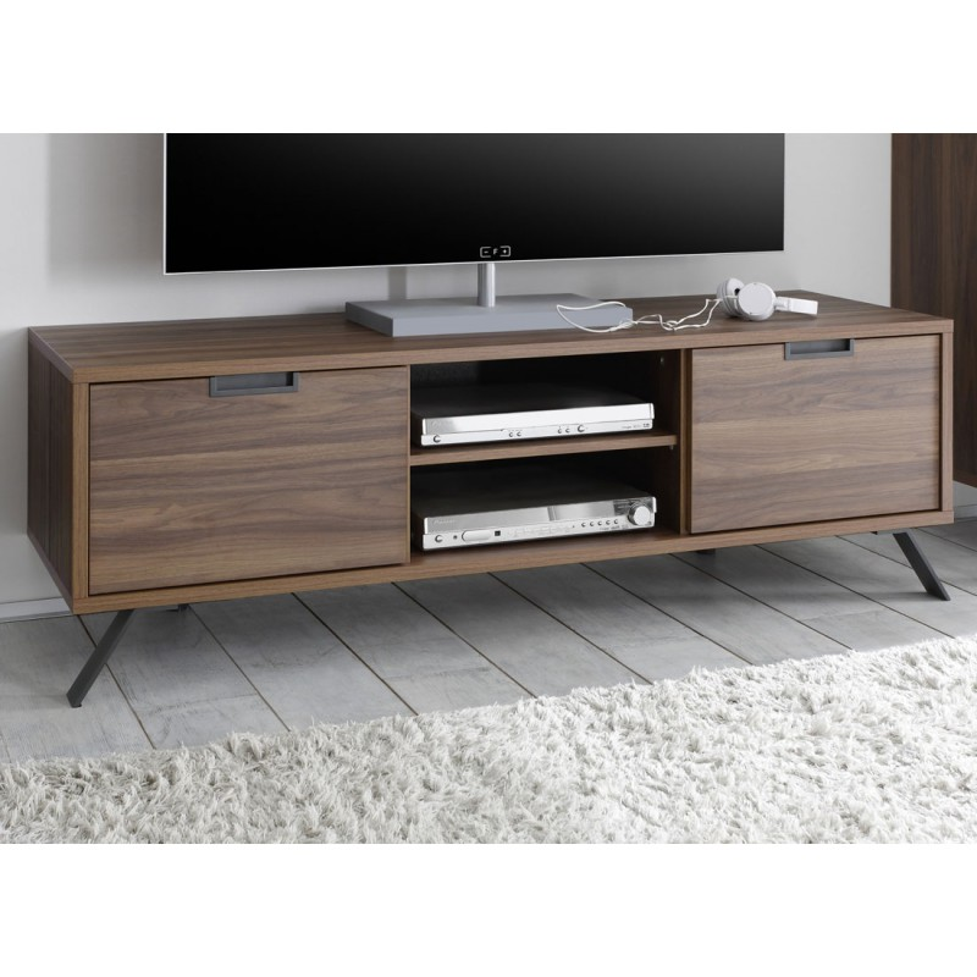Meuble tv 2 portes noyer moderne palerme univers du salon for Meuble tv 2 portes