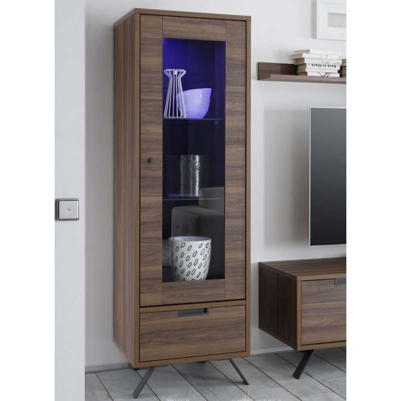 vitrine 1 porte 1 tiroirs noyer palerme univers de la salle manger. Black Bedroom Furniture Sets. Home Design Ideas