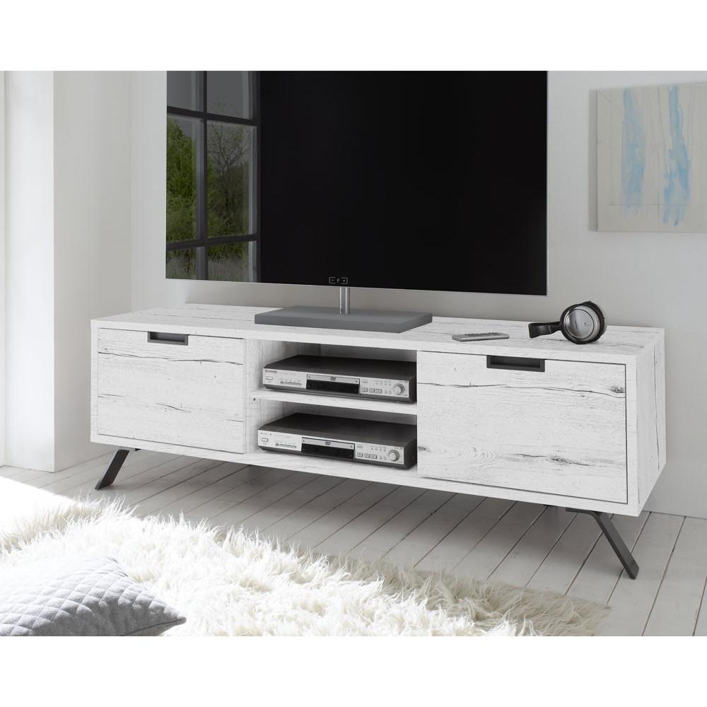 meuble tv 2 portes ch ne blanchi moderne palerme univers. Black Bedroom Furniture Sets. Home Design Ideas