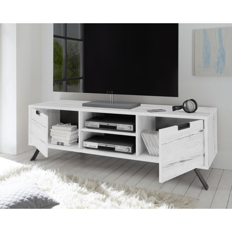 meuble tv 2 portes ch ne blanchi moderne palerme univers du salon. Black Bedroom Furniture Sets. Home Design Ideas