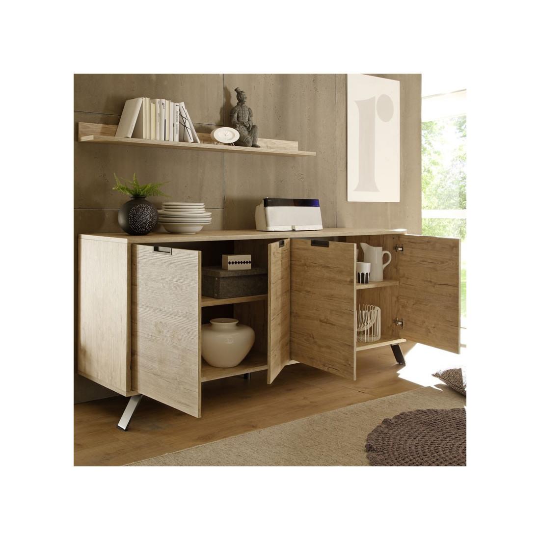 grand buffet 4 portes ch ne clair palerme univers salle. Black Bedroom Furniture Sets. Home Design Ideas