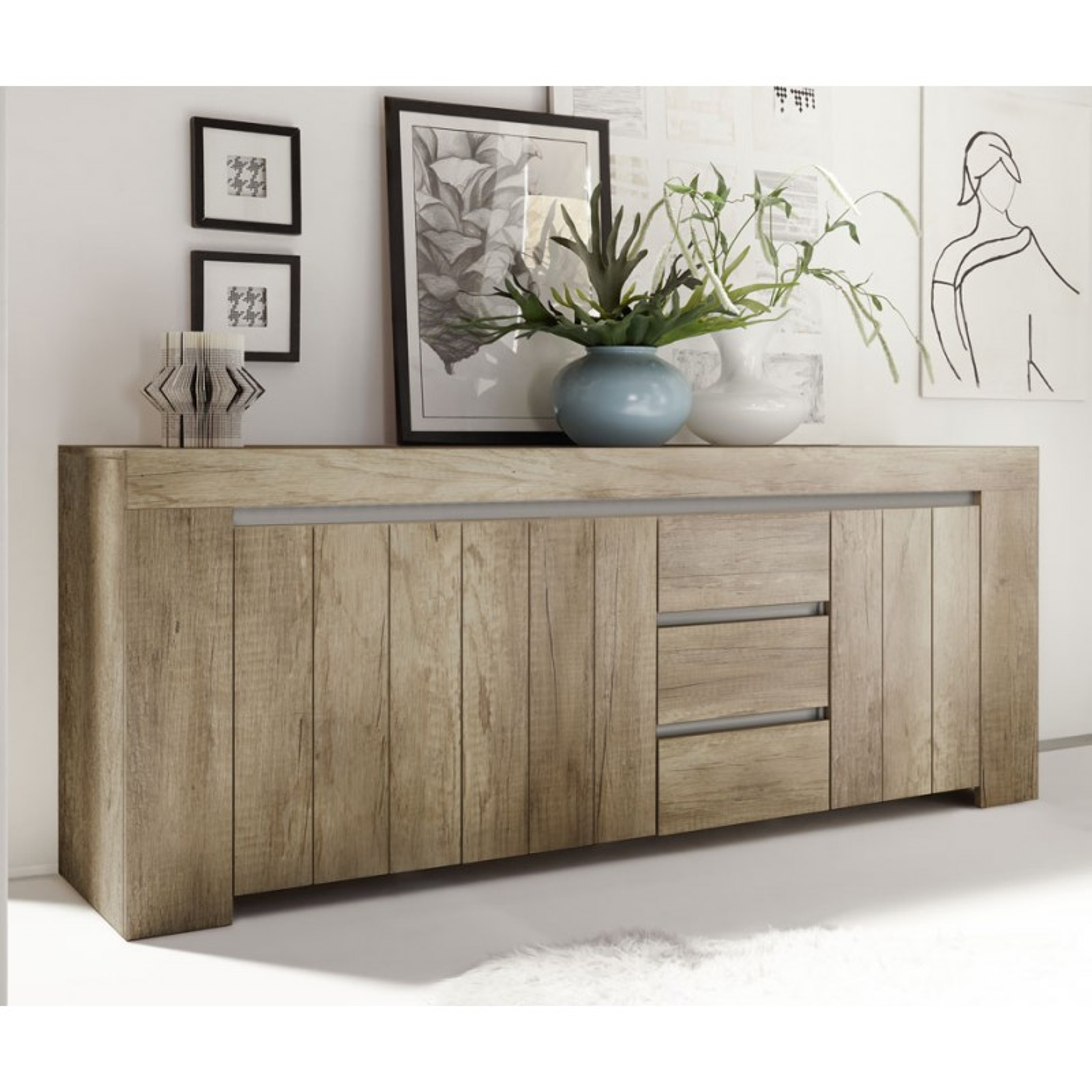 buffet ch ne moyen 3 portes 3 tiroirs almati univers salle manger. Black Bedroom Furniture Sets. Home Design Ideas