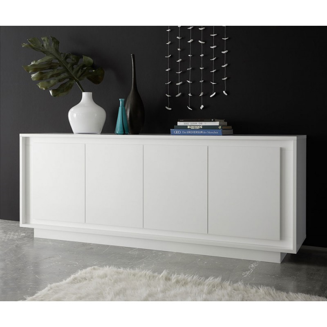 buffet laque blanc mat 4 portes rimini univers de la salle manger. Black Bedroom Furniture Sets. Home Design Ideas
