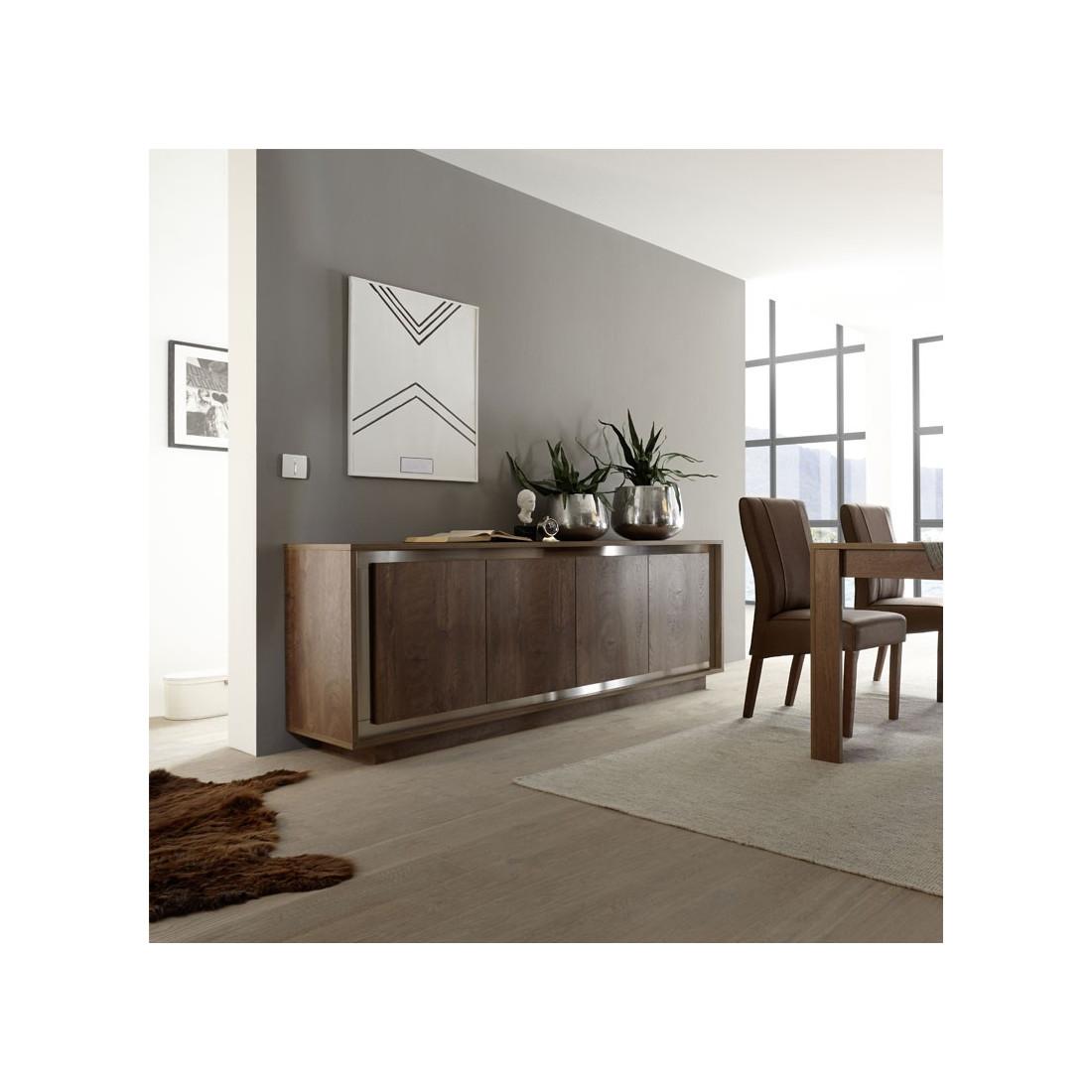 buffet 4 portes ch ne fonc et inox rimini univers salle manger. Black Bedroom Furniture Sets. Home Design Ideas
