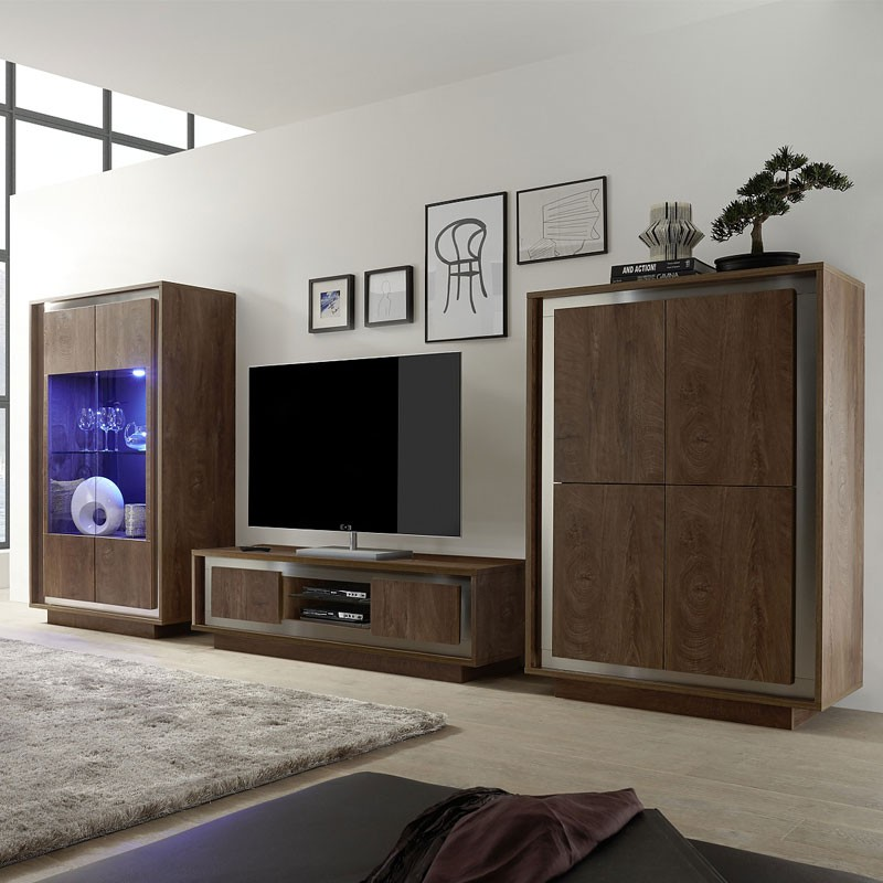 meuble tv 2 portes ch ne fonc et inox rimini univers du salon. Black Bedroom Furniture Sets. Home Design Ideas