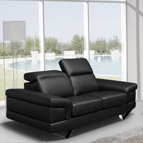 canap 2 places cuir noir t ti res relevables alba univers du salon. Black Bedroom Furniture Sets. Home Design Ideas