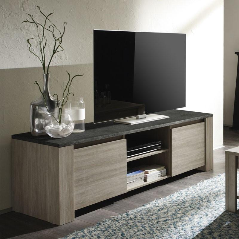 Meuble TV 2 portes 2 niches plateau ardoise - ELBA