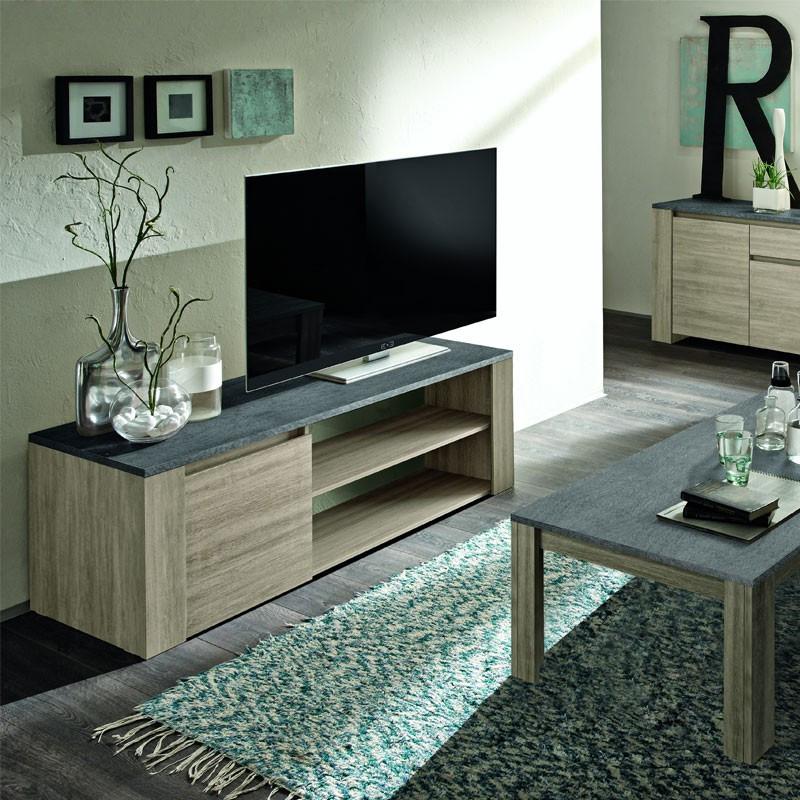 Meuble TV 1 porte 2 grandes niches plateau ardoise - ELBA