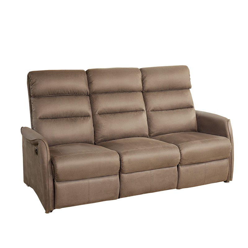 Canap relax lec 3p marron cendr softy univers salon - Canape relax 3 places ...