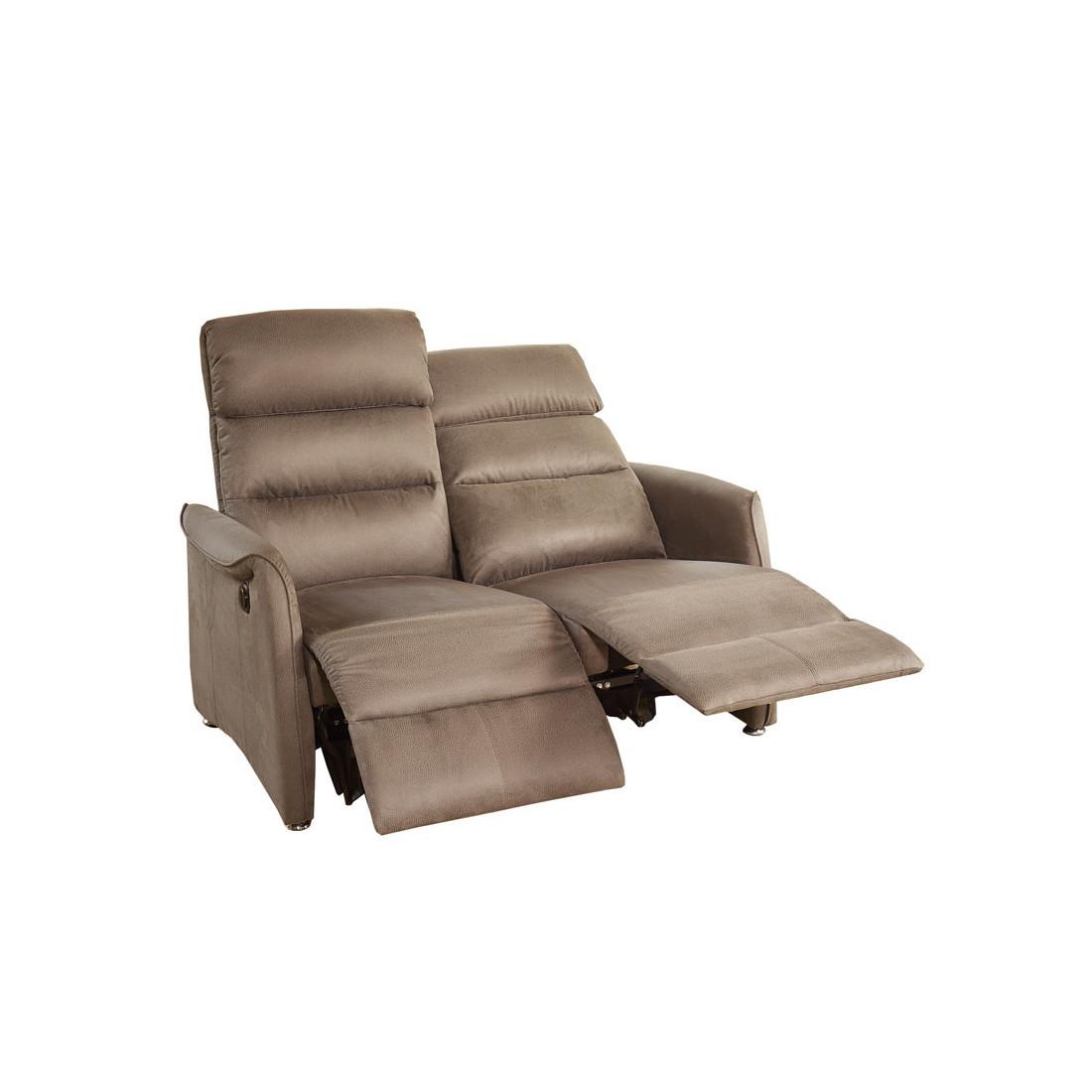 Canap relax el 2p marron cendr softy univers salon - Canape relax 2 places ...