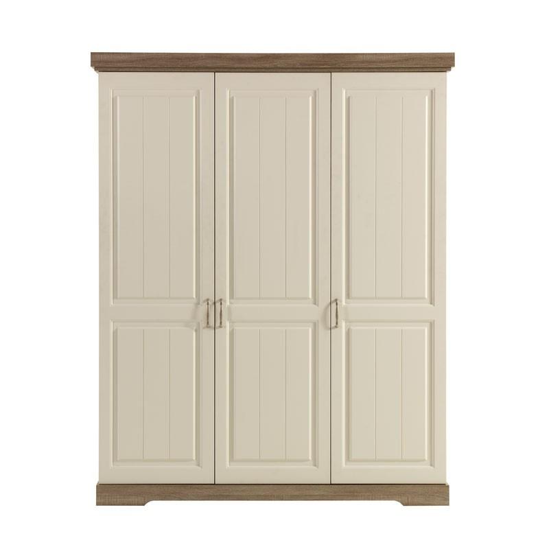 Armoire 3 portes battantes bois blanc lambrissé TIVA - Univers Chambre : Tousmesmeubles