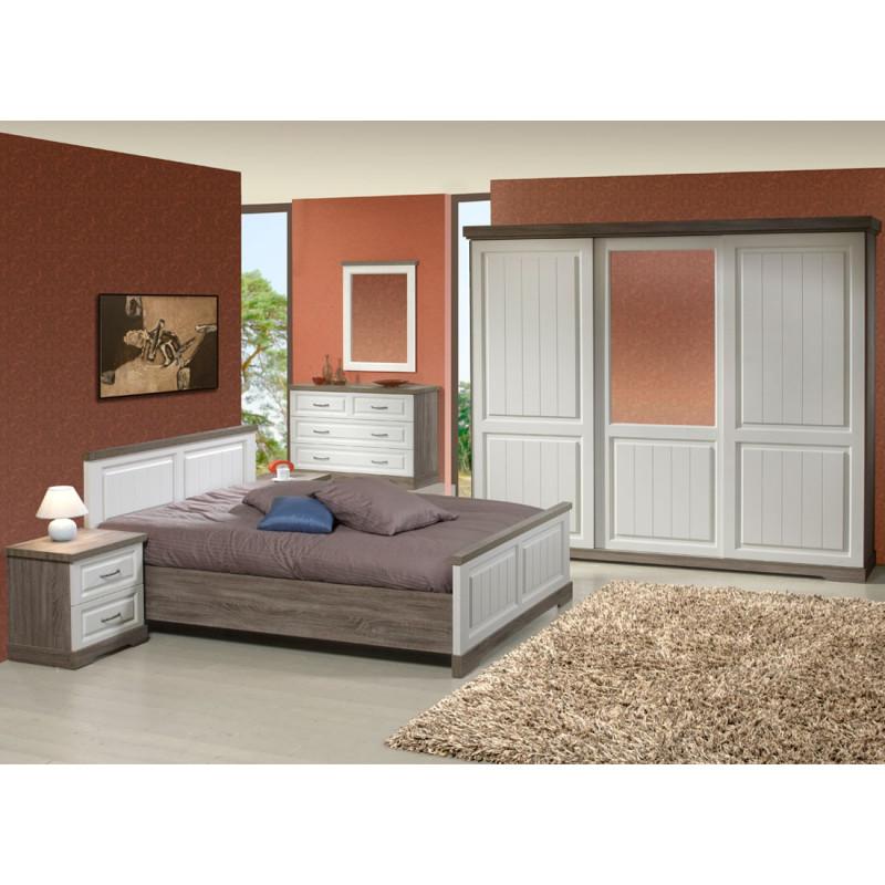 Chambre Adulte Complète bois blanc lambrissé (140*190) TIVA n°2 - Univers Chambre : Tousmesmeubles