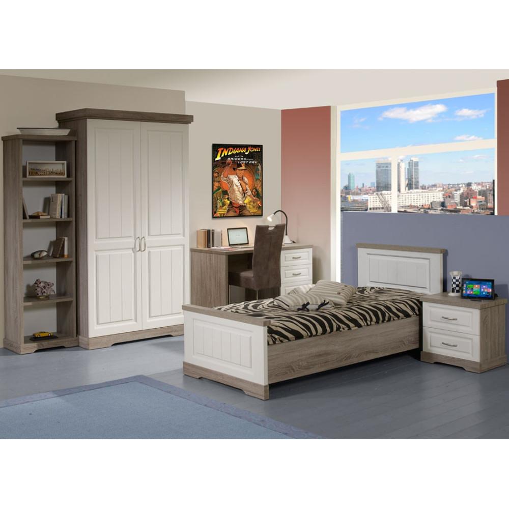 Chambre Enfant Complète 90 bois blanc lambris TIVA - Univers Chambre : Tousmesmeubles