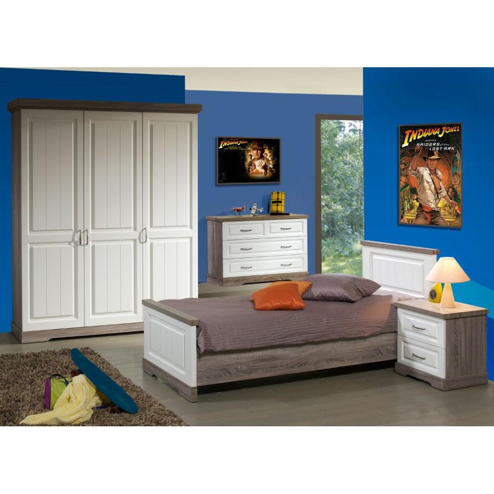 Chambre Enfant Complète bois blanc lambris 90 TIVA - Univers ...