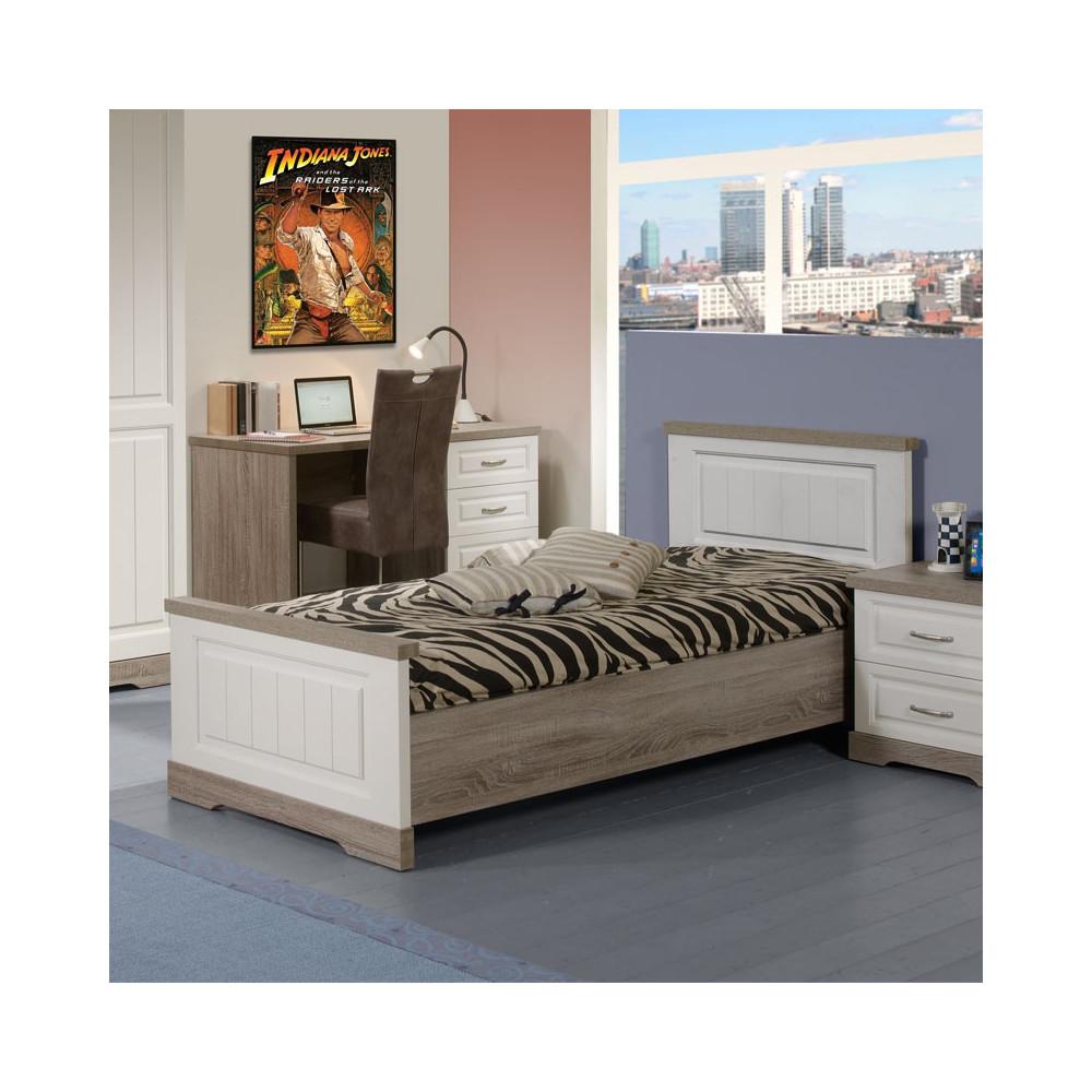 Cadre de lit + Tête de lit 90*190 bois blanc lambrissé TIVA - Univers Chambre : Tousmesmeubles