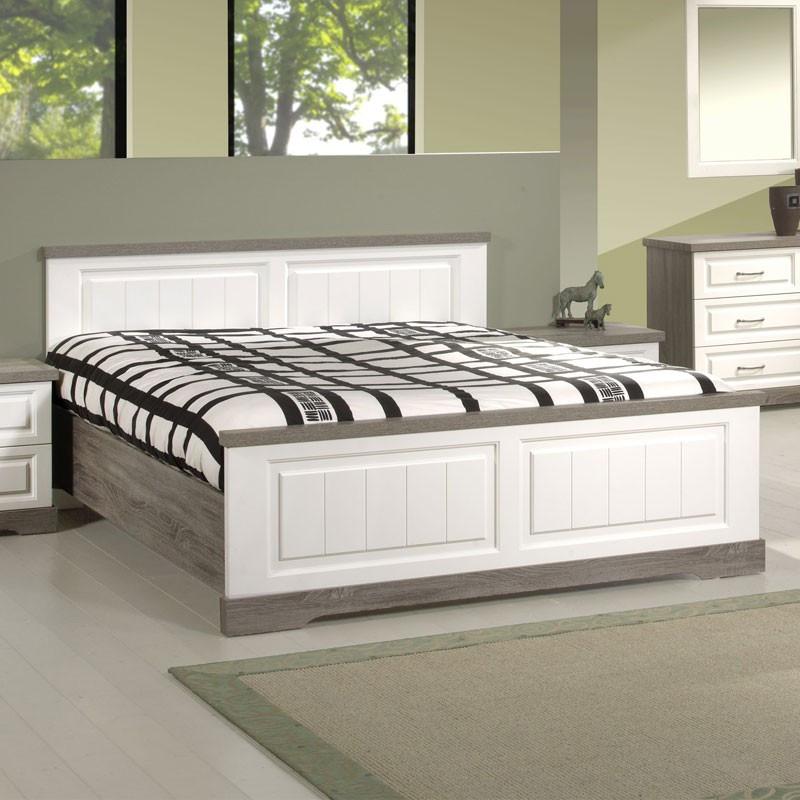 Cadre de lit + Tête de lit 180*200 bois blanc lambris TIVA - Univers Chambre : Tousmesmeubles