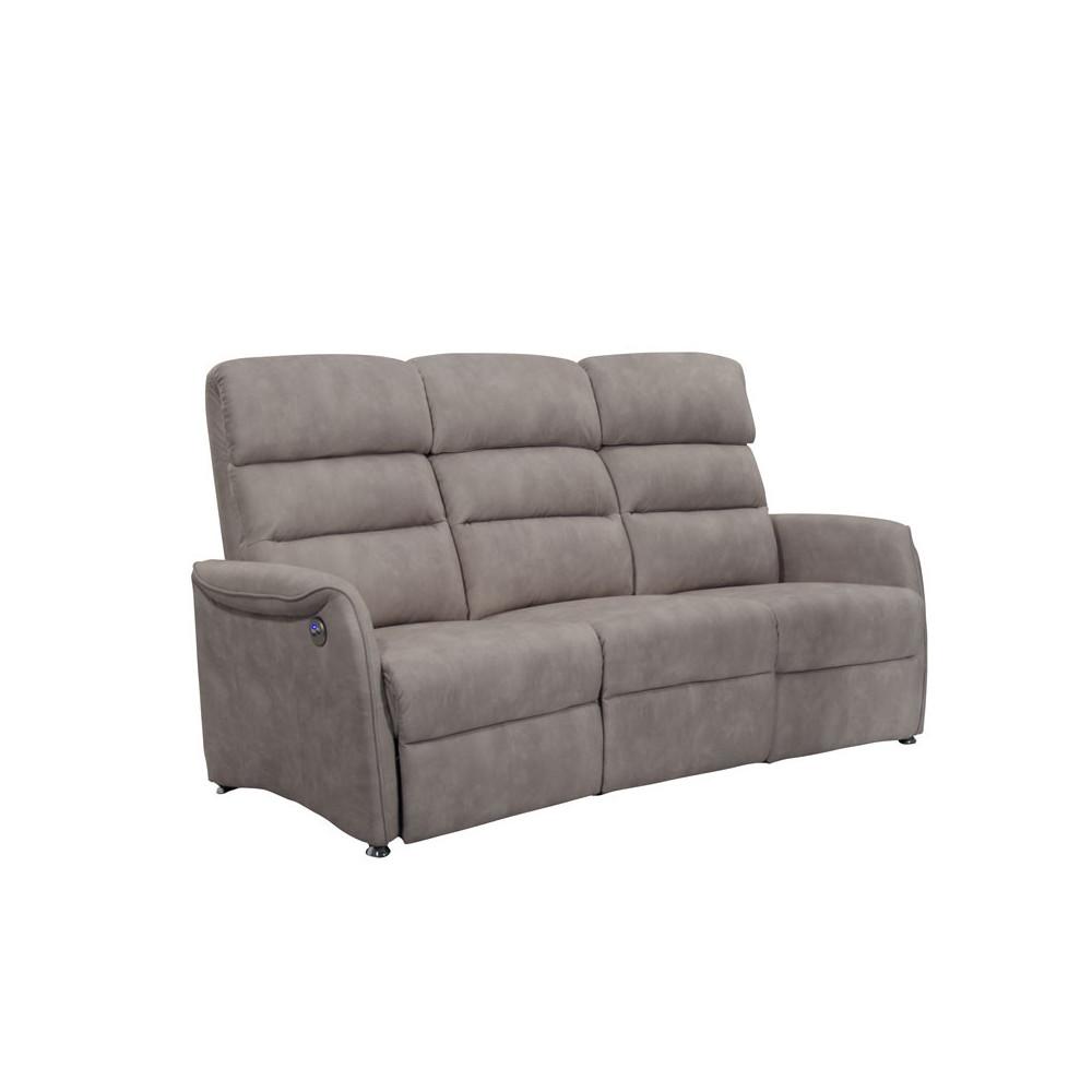 Canapé de Relaxation électrique 3 places Mastic - SOFTY