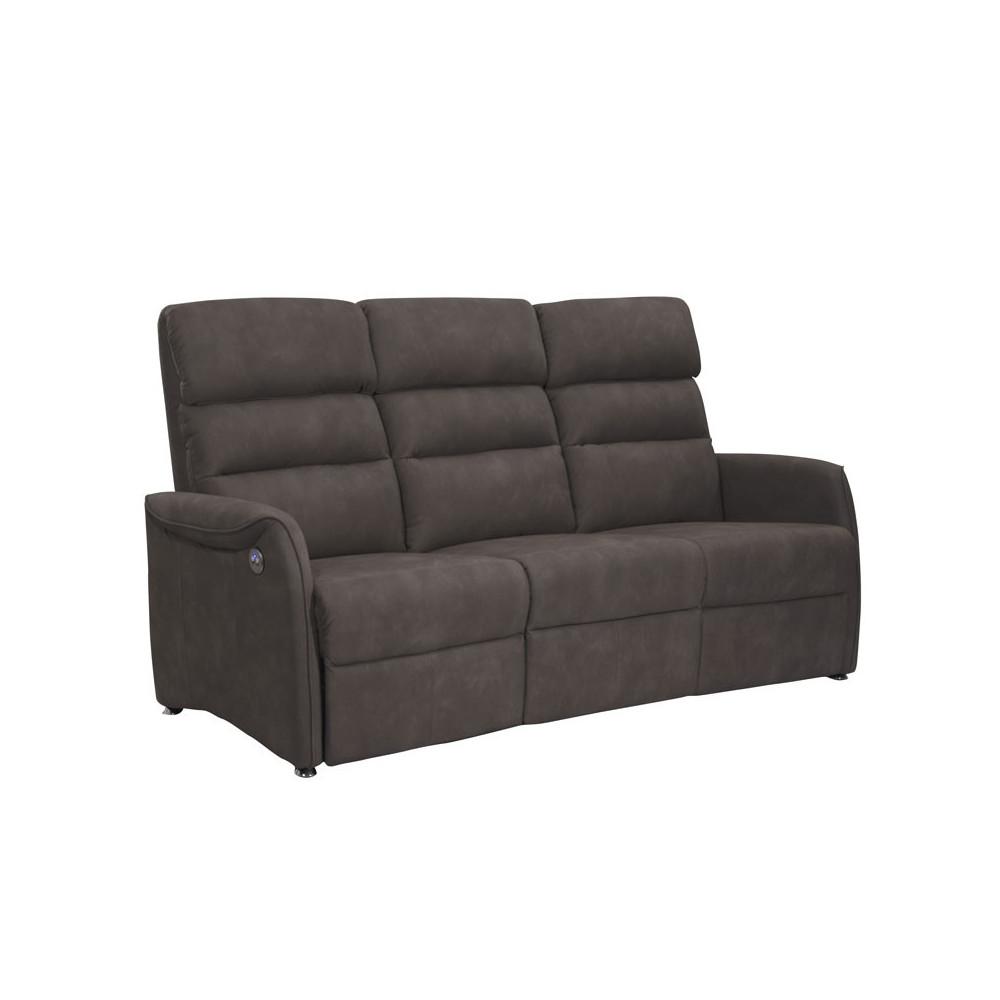 Canapé de Relaxation électrique 3 places Brun - SOFTY