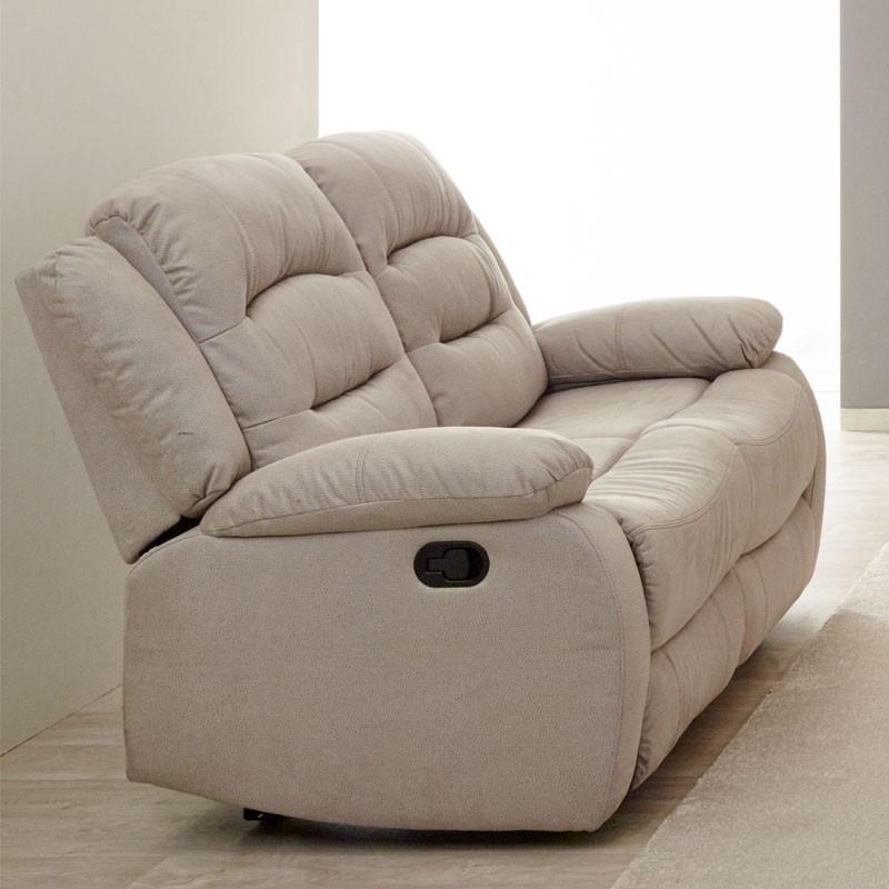 Canapé Relax manuel 2 places tissu beige - Univers Salon et Assises : Tousmesmeubles